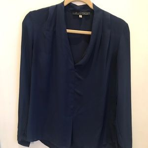 Rose & Olive Navy 3-4th Silk Blouse